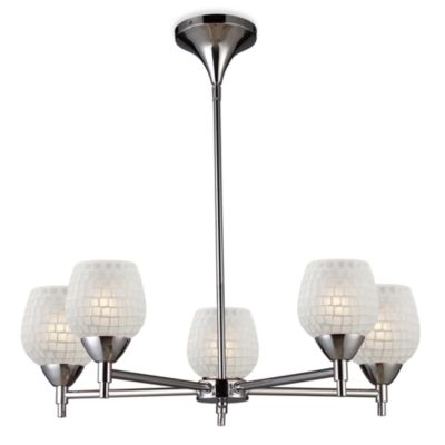 ELK Lighting Celina 5-Light Chandelier in Polished Chrome/White