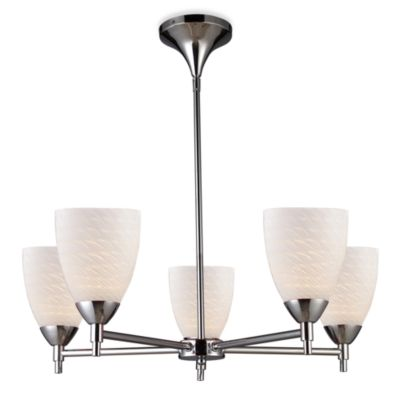 ELK Lighting Celina 5-Light Chandelier in Polished Chrome/White Swirl