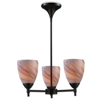ELK Lighting Celina 3-Light Chandelier in Dark Rust/Creme