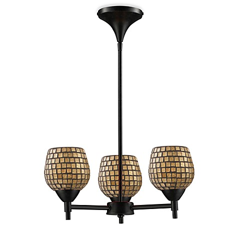 ELK Lighting Celina 3-Light Chandelier in Dark Rust/Gold Leaf