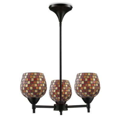 ELK Lighting Celina 3-Light Chandelier in Dark Rust/Multi Fusion