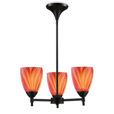 ELK Lighting Celina 3-Light Chandelier in Dark Rust/Multi