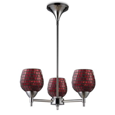 ELK Lighting Celina 3-Light Chandelier in Polished Chrome/Copper