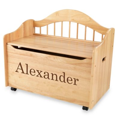 "KidKraft™ ""Nicholas"" Toy Box in Natural with Brown Lettering"