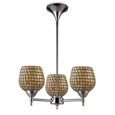 ELK Lighting Celina 3-Light Chandelier in Polished Chrome/Gold Leaf