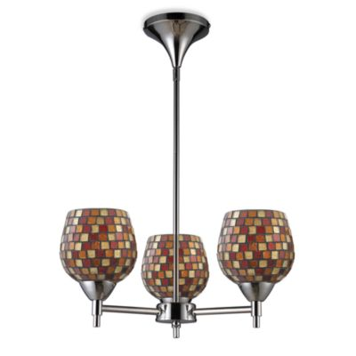 ELK Lighting Celina 3-Light Chandelier in Polished Chrome/Multi Fusion