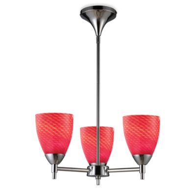 ELK Lighting Celina 3-Light Chandelier in Polished Chrome/Scarlet