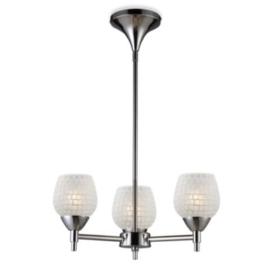 ELK Lighting Celina 3-Light Chandelier in Polished Chrome/White