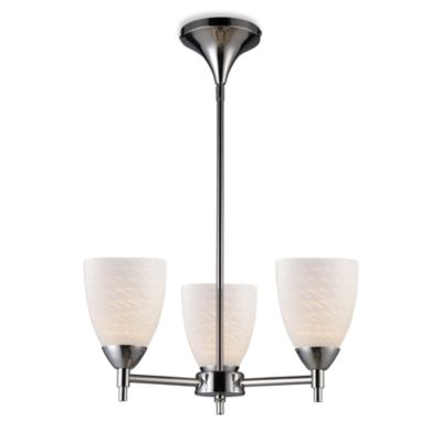 ELK Lighting Celina 3-Light Chandelier in Polished Chrome/White Swirl