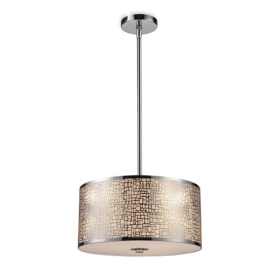 ELK Lighting Medina 3-Light Pendant Ceiling Lamp in Polished Stainless Steel