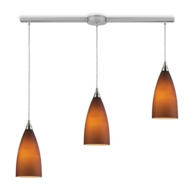 ELK Lighting Vesta 3-Light Linear Pendant Ceiling Lamp in Satin Nickel/Tobacco