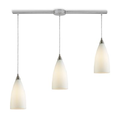 ELK Lighting Vesta 3-Light Linear Pendant Ceiling Lamp in Satin Nickel/White