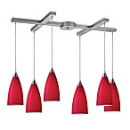 ELK Lighting Vesta 6-Light Pendant Ceiling Lamp in Satin Nickel/Cardinal Red