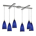 ELK Lighting Vesta 6-Light Pendant Ceiling Lamp in Satin Nickel/Royal Blue