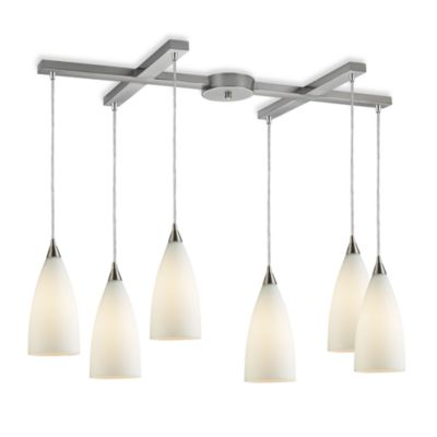 ELK Lighting Vesta 6-Light Pendant Ceiling Lamp in Satin Nickel/White