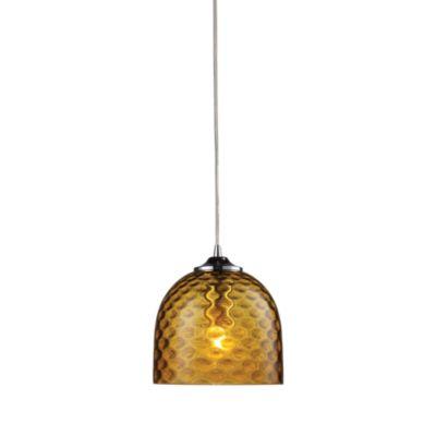 ELK Lighting Viva 1-Light Pendant Ceiling Lamp in Polished Chrome/Amber Glass