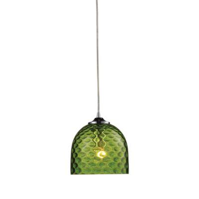 ELK Lighting Viva 1-Light Pendant Ceiling Lamp in Polished Chrome/Green Glass