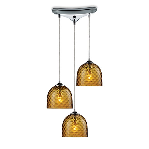 ELK Lighting Viva 3-Light Pendant Ceiling Lamp in Polished Chrome/Amber