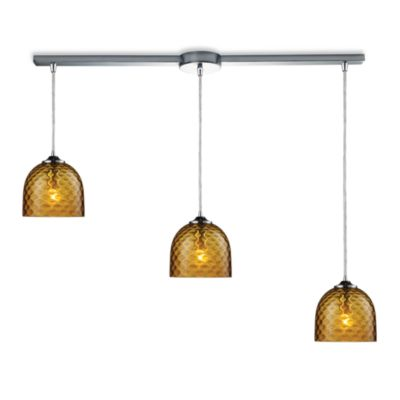ELK Lighting Viva 3-Light Linear Pendant Ceiling Lamp in Polished Chrome/Amber