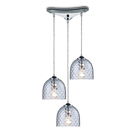 ELK Lighting Viva 3-Light Pendant Ceiling Lamp in Polished Chrome/Clear