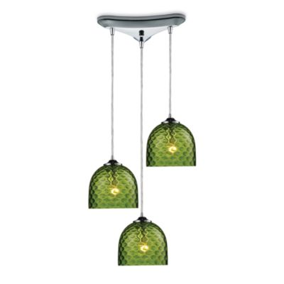 ELK Lighting Viva 3-Light Pendant Ceiling Lamp in Polished Chrome/Green