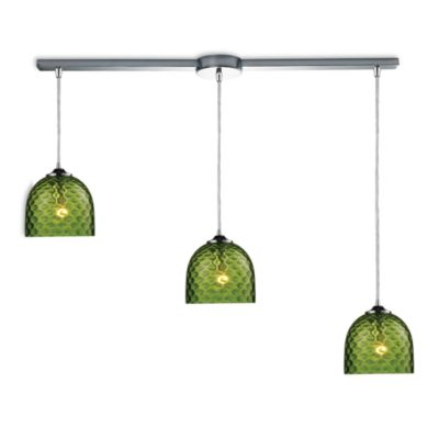 ELK Lighting Viva 3-Light Linear Pendant Ceiling Lamp in Polished Chrome/Green