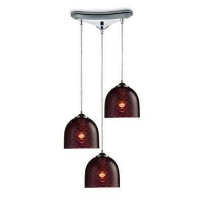 ELK Lighting Viva 3-Light Pendant Ceiling Lamp in Polished Chrome/Ruby