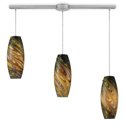 ELK Lighting Vortex 3-Light Linear Pendant Ceiling Lamp in Satin Nickel/Celestial