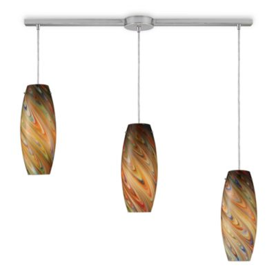 ELK Lighting Vortex 3-Light Linear Pendant Ceiling Lamp in Satin Nickel/Rainbow