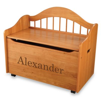 "KidKraft™ ""Christian"" Toy Box in Honey with Brown Lettering"