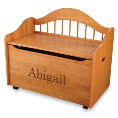 "KidKraft™ ""Ashley"" Toy Box in Honey with Brown Lettering"
