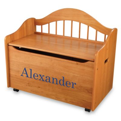 "KidKraft™ ""Nicholas"" Toy Box in Honey with Blue Lettering"