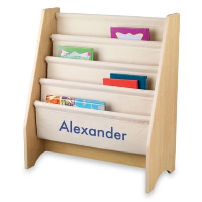 "KidKraft® Personalized ""Nicholas"" Sling Bookshelf in Natural with Blue Lettering"