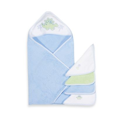 Spasilk® Hooded Towel & Washcloth Set - Dino