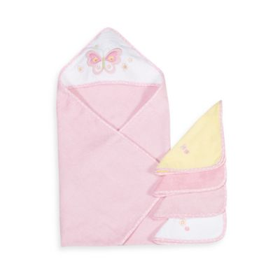 Spasilk Hooded Towel & Washcloth Set - Butterfly