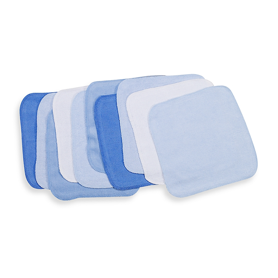 Spasilk®  10-Pack Washcloths in Solid Blues - buybuyBaby.com
