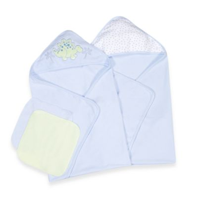 Spasilk® Two Hooded Towels & Washcloth Set - Dino