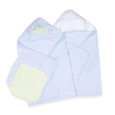 Spasilk® Two Hooded Towels & Washcloth Set - Dino