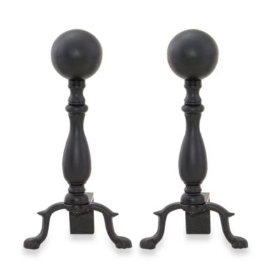 UniFlame® 17-Inch Black Ball Andirons