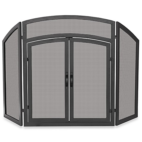 UniFlame® Fireplace Screen - 3-Fold Arch Top with Doors (Black Wrought Iron)