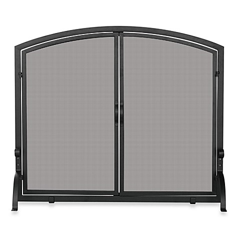 UniFlame® Large Fireplace Screen in Single Panel with Doors in Black Wrought Iron