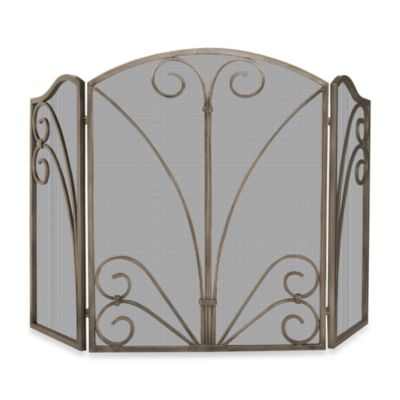 UniFlame® 3-Fold Venetian Fireplace Screen with Decorative Scrollwork in Bronze Finish