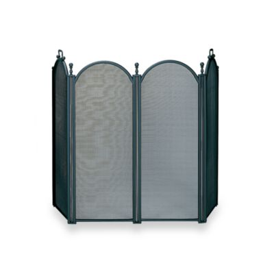 UniFlame® 4-Fold Large Diameter Fireplace Screen with Woven Mesh in Black Finish