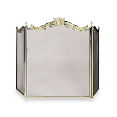 UniFlame® 3-Fold Fireplace Screen in Cast Solid Brass