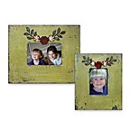 Green Wood Frame with Metal Flowers