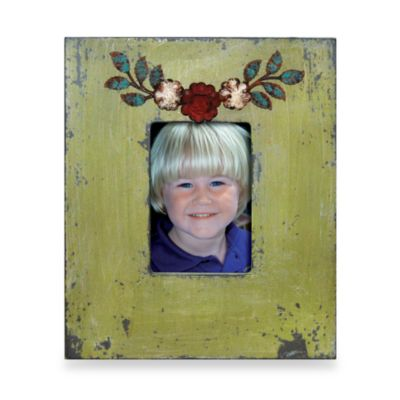Green Wood 4-Inch x 6-Inch Frame with Metal Flowers