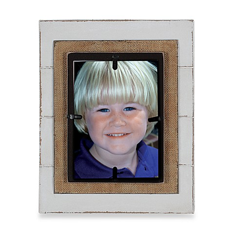 Creative Co-Op Burlap Layered 5-Inch x 7-Inch Photo Frame in White with Black