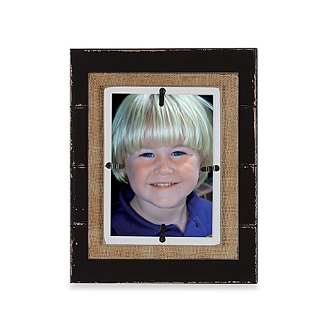Creative Co-Op Burlap Layered 5-Inch x 7-Inch Photo Frame in Brown with White