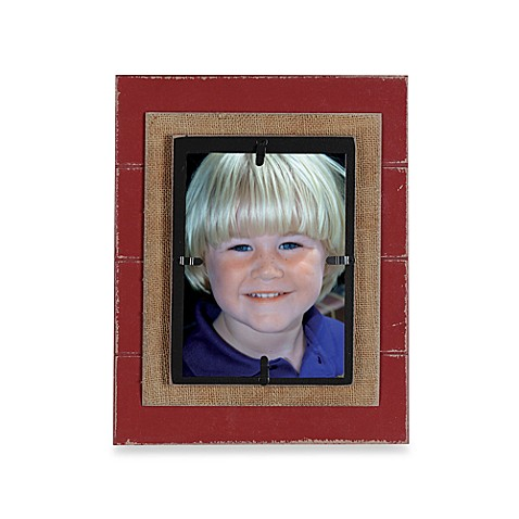 Creative Co-Op Burlap Layered 5-Inch x 7-Inch Photo Frame in Red with Black