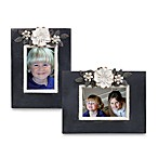 Black Picture Frames with Metal Flowers